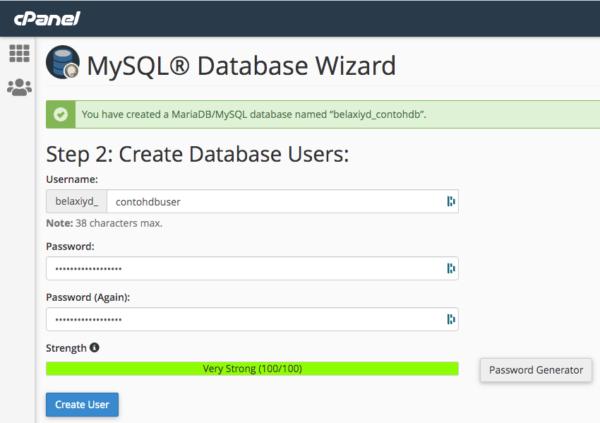 Membuat User MySQL di cPanel