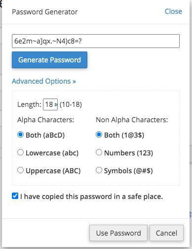 Password generator mysql user