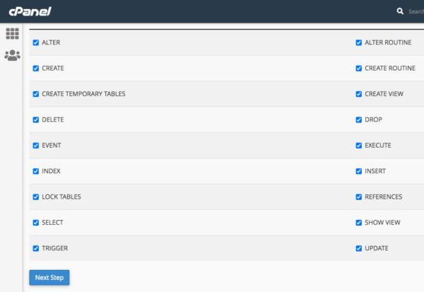 Daftar privileges di MySQL di cPanel