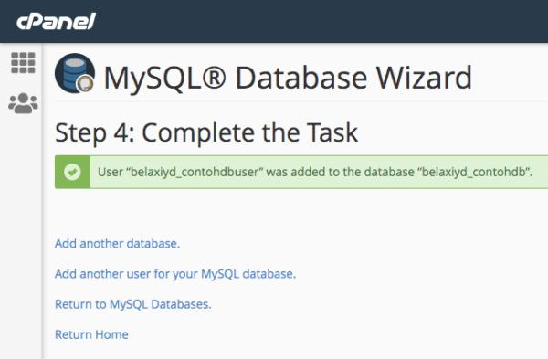 Pembuatan database, user dan pemberian privileges selesai.