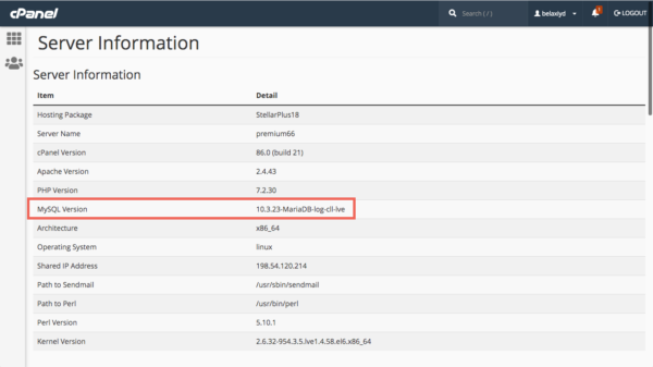 Versi MySQL di halaman Server Information