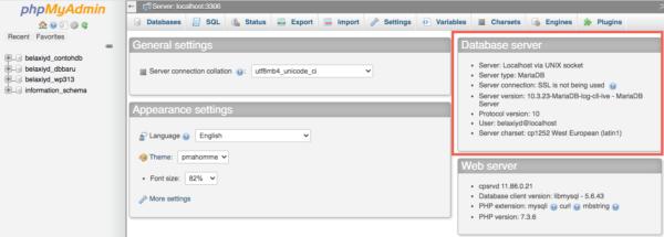Versi MySQL dari halaman utama phpMyAdmin