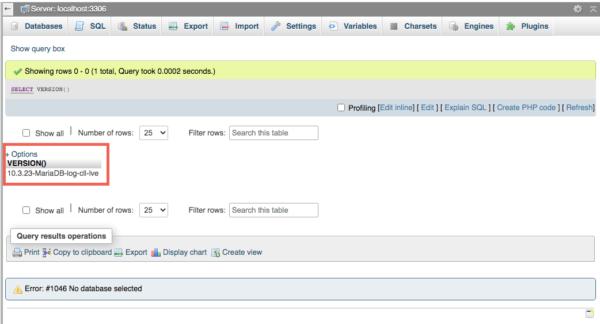 Cara Mengetahui Versi MySQL di cPanel lewat query SQL