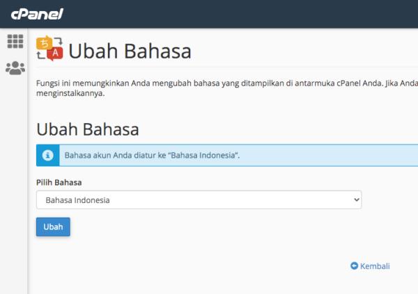 cpanel dalam bahasa indonesia