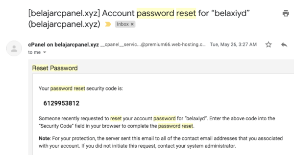 contoh email security code reset password cpanel