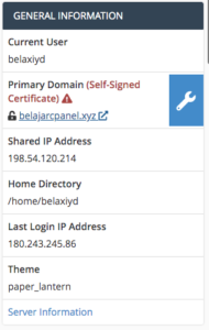 cpanel interface general information