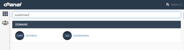 mencari subdomain di cPanel