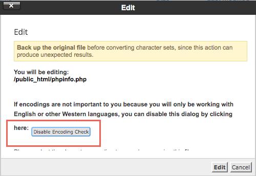 Disable encoding check cpanel dari edit file