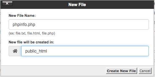 buat file phpinfo.php dengan file manager di cpanel