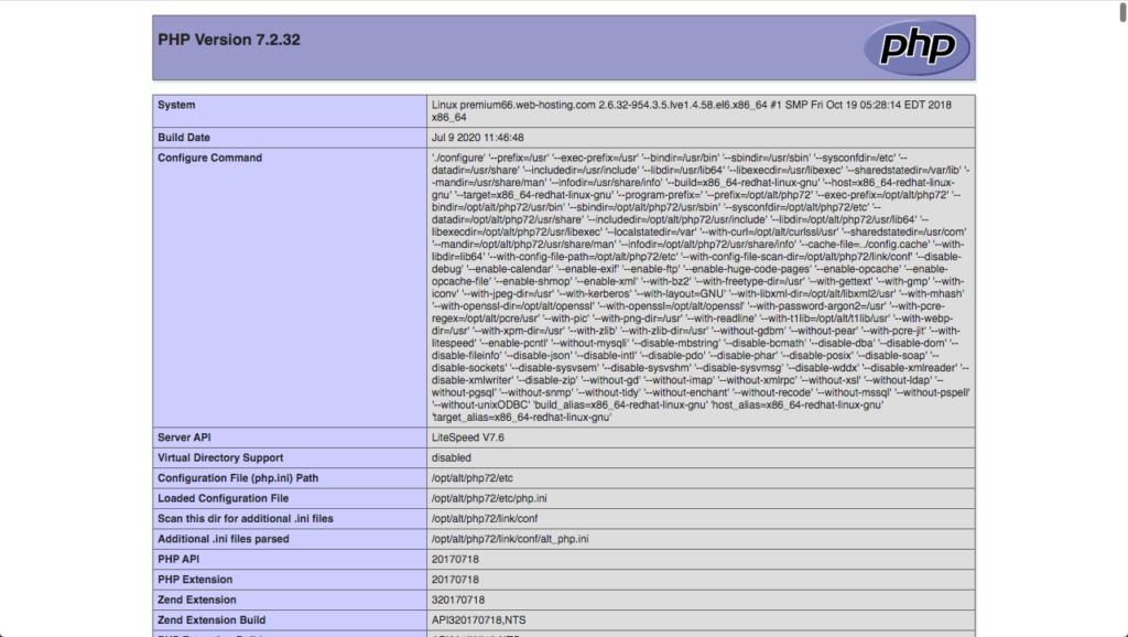 contoh halaman phpinfo()